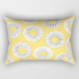Modern yellow black watercolor abstract circles Rectangular Pillow