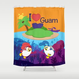 Ernest & Coraline | I love Guam Shower Curtain