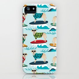 Yellow Labrador surfing dog breed pattern iPhone Case