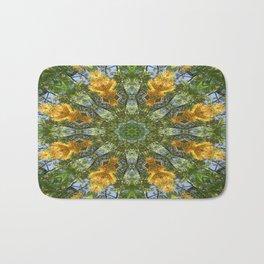 Yellow Tree Flower Kaleidoscope Art 6 Bath Mat