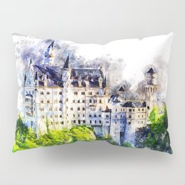 Neuschwanstein Castle, Watercolor Pillow Sham