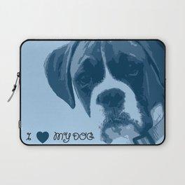 I love my dog - Boxer, blue Laptop Sleeve