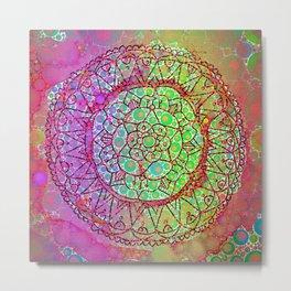 Happy Boho Mandala Pink & Green Dayglo Metal Print