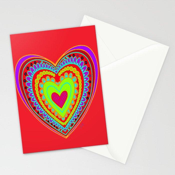 Mandala heart Stationery Cards