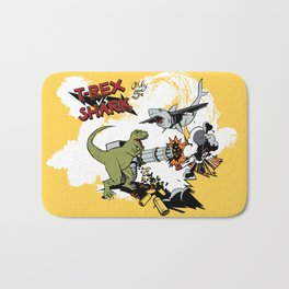 T-Rex VS Shark  Bath Mat