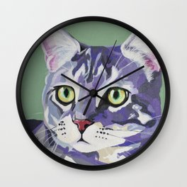 Purple & Gray Cat Wall Clock