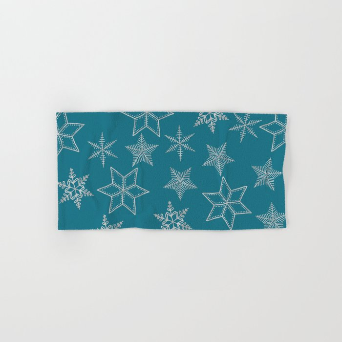 Silver Snowflakes On Teal Background Hand & Bath Towel