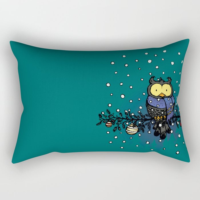 Owl in the snow Rectangular Pillow