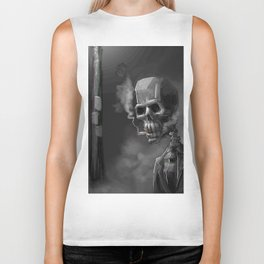 Noir Skeleton Digital Illustration Biker Tank