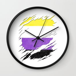 Nonbinary Pride Flag Ripped Reveal Wall Clock