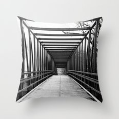 Bridge to Nowhere Black and White Photography Throw Pillow