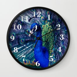 Blue Peacock Wall Clock