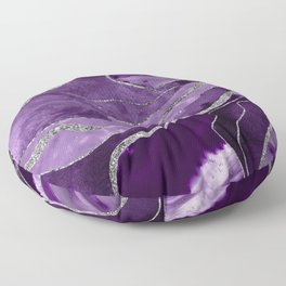 Purple Marble Agate Silver Glitter Glam #1 (Faux Glitter) #decor #art #society6 Floor Pillow