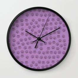 Dog Paws, Traces, Paw-prints - Purple Wall Clock