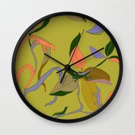 Find a Lizard Tropical Seamless Print Wall Clock