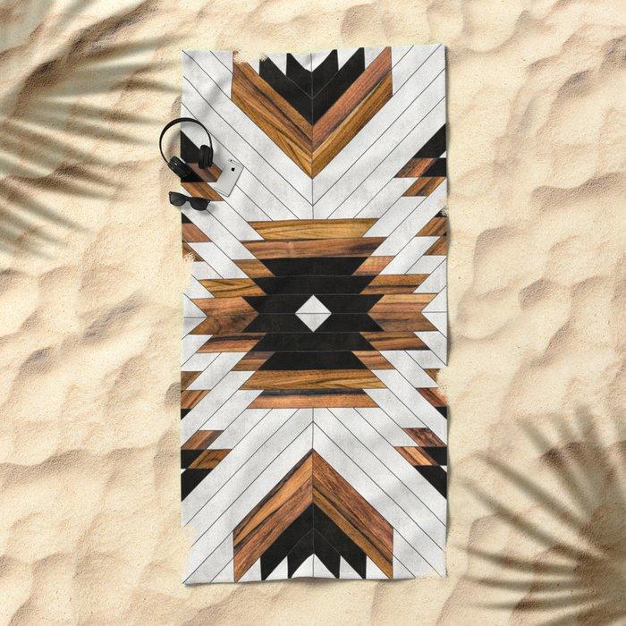 Urban Tribal Pattern No.5 - Aztec - Concrete and Wood Beach Towel