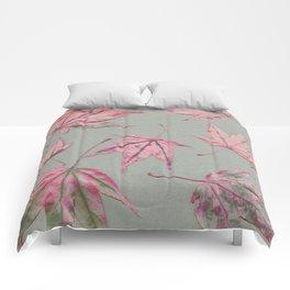 Japanese maple leaves - apricot on light khaki green Comforters