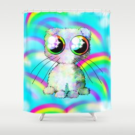 curly kawaii pet on rainbow and cloud background Shower Curtain
