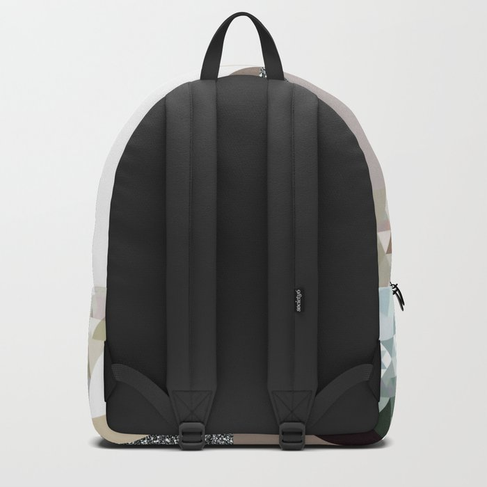 Triangles in glittering graphite quartz - Grey glitter triangle pattern Backpack