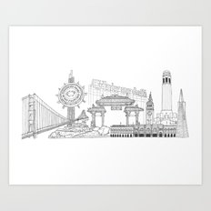San Francisco by the Downtown Doodler Art Print