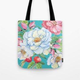 Elegant, Chic Floral Print on Eggshell Blue Tote Bag