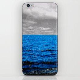 Grey cloud blue sea iPhone Skin