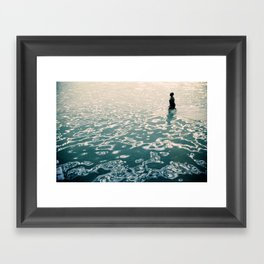 Lady in swimming pool Framed Art Print