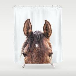 peekaboo horse, bw horse print, horse photo, equestrian, equestrian photo, equestrian decor Shower Curtain