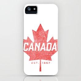 Canada Est. 1867 Vintage Faded Canada Maple Leaf  design iPhone Case