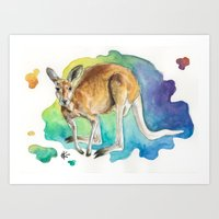 kangaroo Art Prints featuring Kangaroo by Kyra Kalageorgi