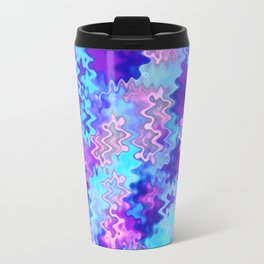 Blue and Purple Marble Waves Travel Mug