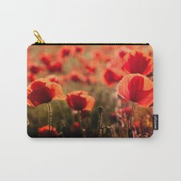 Fiery poppy field - Red Poppies Flowers Carry-All Pouch