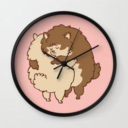 Pomeranian Hugs Wall Clock