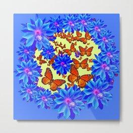 Orange Butterflies Blue  Floral Wreath art Metal Print