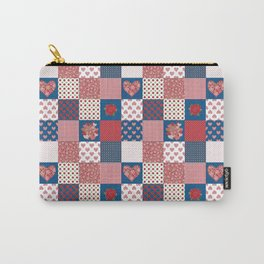 Hearts and Roses Faux Patchwork Carry-All Pouch