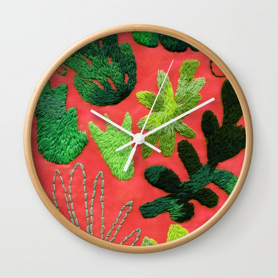Tropical Leaves Embroidered Pattern Wall Clock By Embroiderrred Society6 Tropical detailed embroidery floral design in a seamless pattern. tropical leaves embroidered pattern wall clock by embroiderrred