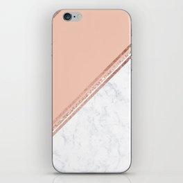 Modern stylish rose gold glitter geometric stripes blush pink white marble color block iPhone Skin