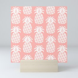 Retro Mid Century Modern Pineapple Pattern Peach 2 Mini Art Print