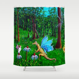 Discussion in the Woods Shower Curtain