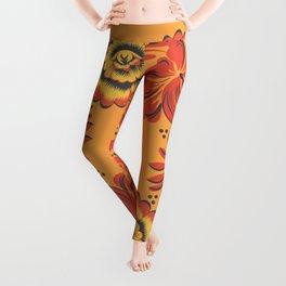Orange Khokhloma Leggings