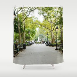 Morning Stroll in the Village Shower Curtain