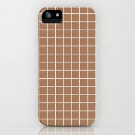 Café au lait - brown color -  White Lines Grid Pattern iPhone Case