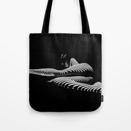 8428-KMA BW Art Nude Abstract Zebra Stripe Woman Long Legs Tote Bag