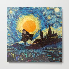 Flaying wizard starry night iPhone 4 5 6 7 8, pillow case, mugs and tshirt Metal Print