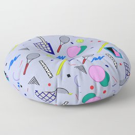 Seamless colorful pattern in retro style on grey background with tennis ball and tennis racket Floor Pillow