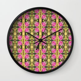 Pink roses with golden stripes pattern Wall Clock
