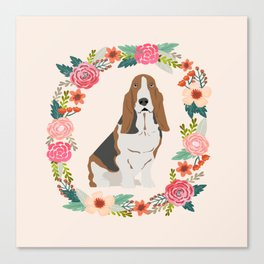 basset hound floral wreath dog gifts pet portraits Canvas Print