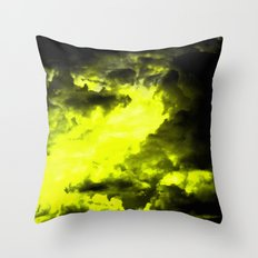 Happiness - Cloudy Abstract In Yellow And Black Throw Pillow