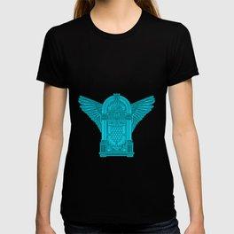 Vintage Flying Illuminati Jukebox Blue T-shirt