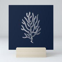 Sea Coral Bold Naval Blue Cottage Design Mini Art Print